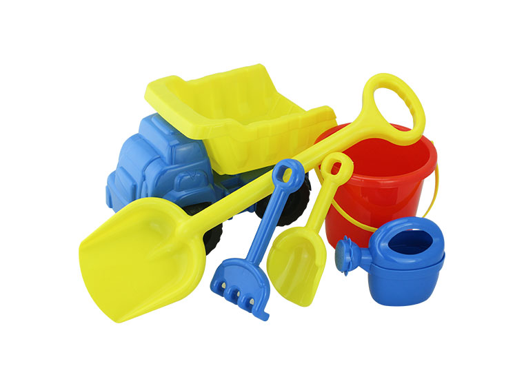 Aset of colorful plastic baby toys