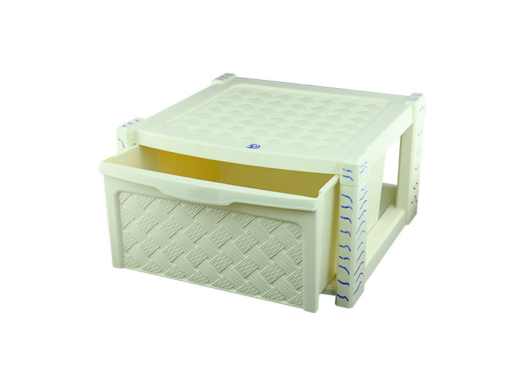 Beige plastic drawer in white background