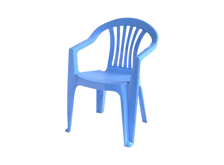 Blue plastic chair in white background