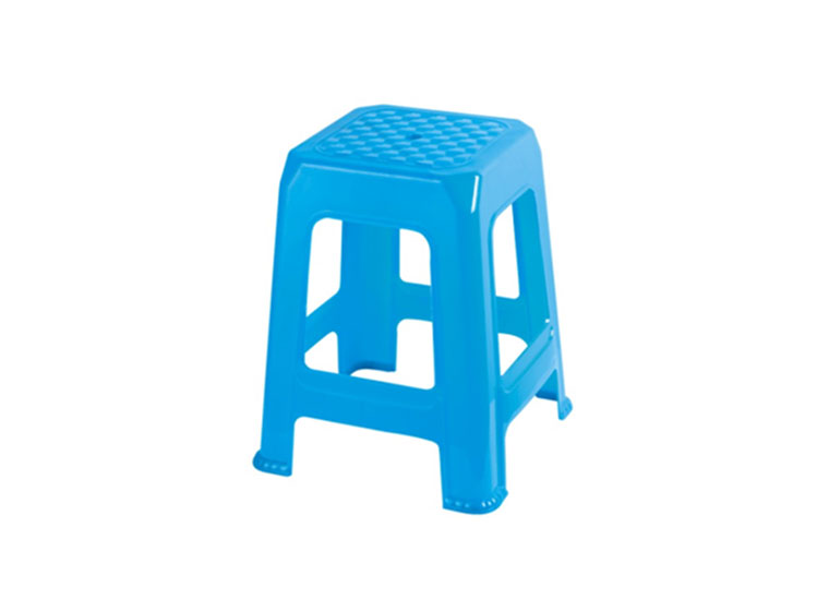 Blue plastic chair stool