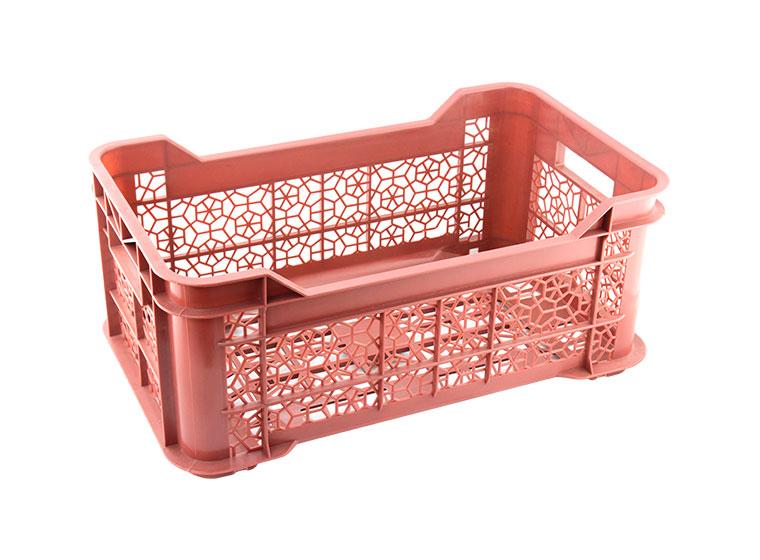 A pink plastic storage basket