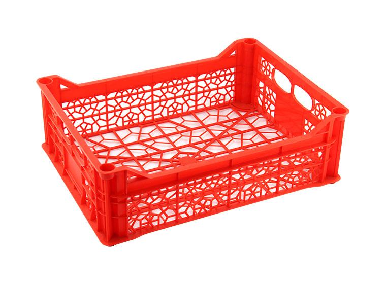 A big red plastic crate